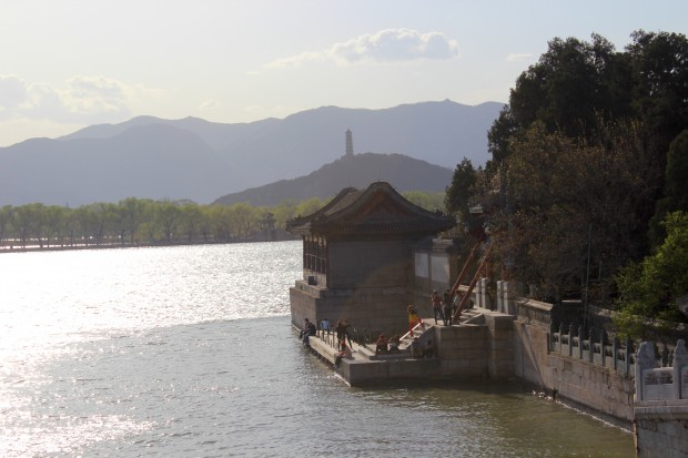 Kunming Lake, Yu Quan Hill with the Yu Feng Pagoda in the late afternoon
