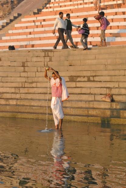 Ritual washing along the Ghats in Varanasi