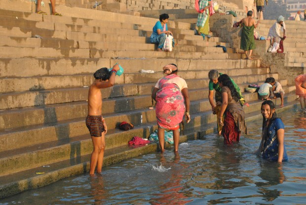 Taking a dip into the Ganges in Varanasi