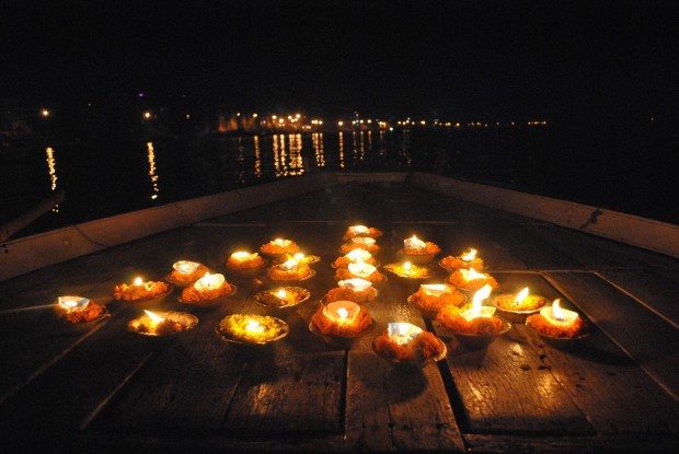 Candles on our Rowing Boat on the River Ganges, Varanasi, India