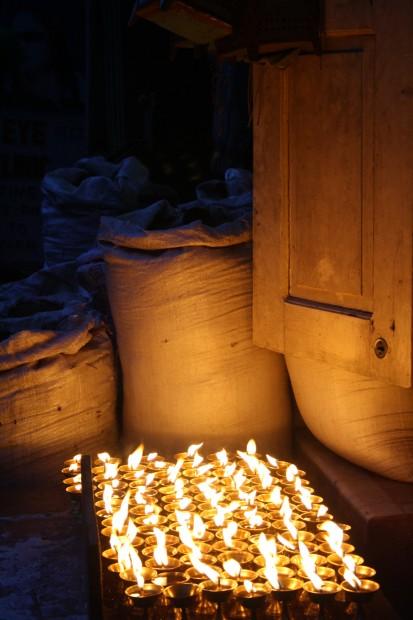 Butterlamps in the streets in Kathmandu, Nepal