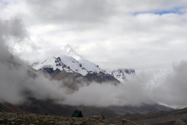 Abandoned Tent in front of Mount Everest