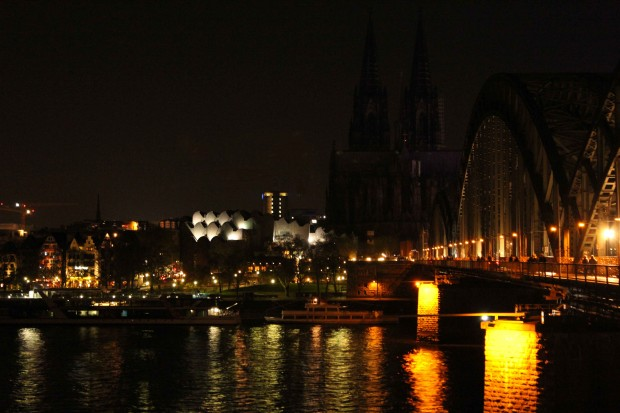 "The Cologne Cathedral ""Kölner Dom"" and the Hohenzollern Bridge darkened during the Earth Hour 2014 on 29th March 2014"