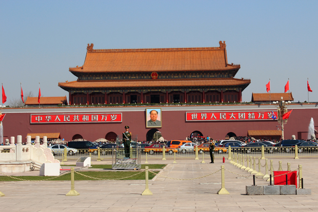 Tiananmen Gate, also known Gate of Heavenly Peace, seen from the north end of the Tiananmen Square