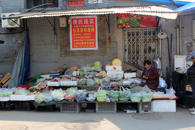 Local vendour selling fruits and vegetables