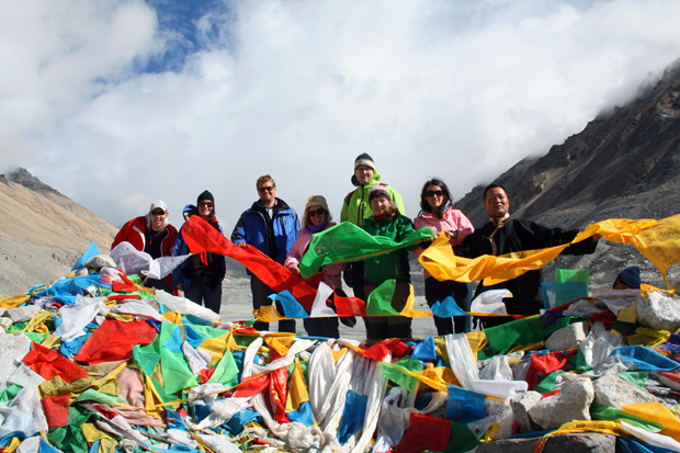 At Everest Base Camp (with Mount Everest unfortunately behind the clouds), Tibet