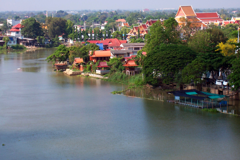 Riverview of my hotel room Temples of Ayutthaya Thailand