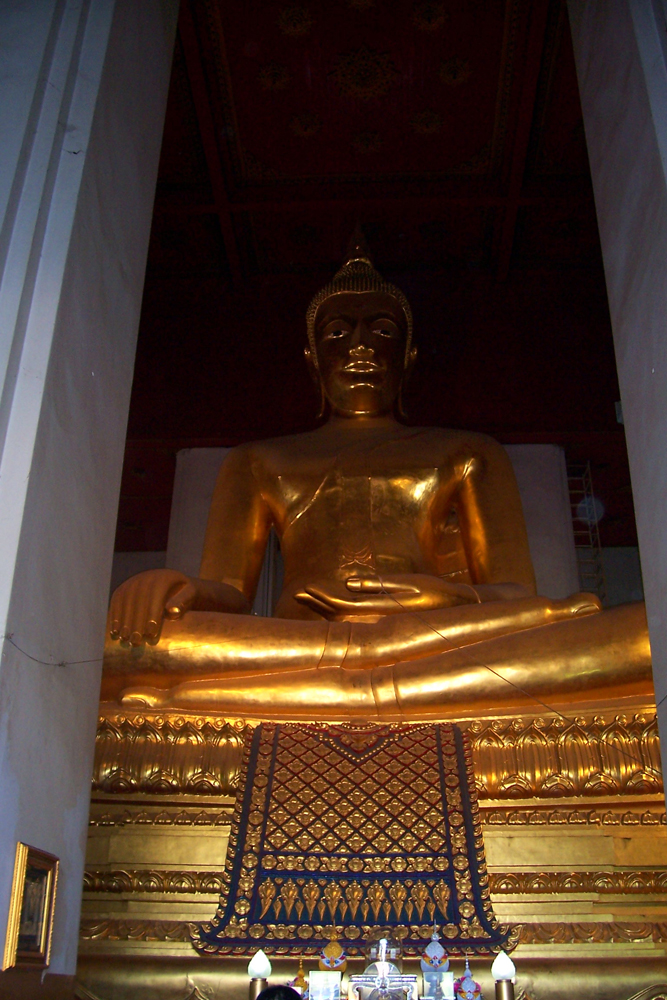Sitting Bronze Buddha Viharn Phra Mongkol Bophit Ayutthaya Temples of Auytthaya Thailand