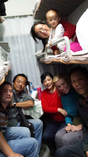 Chinese sleeper train ride with locals Beijing Xi'an China