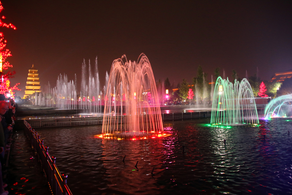 Wild Goose Pagoda Fountain show Xi'an China Year of Contrasts