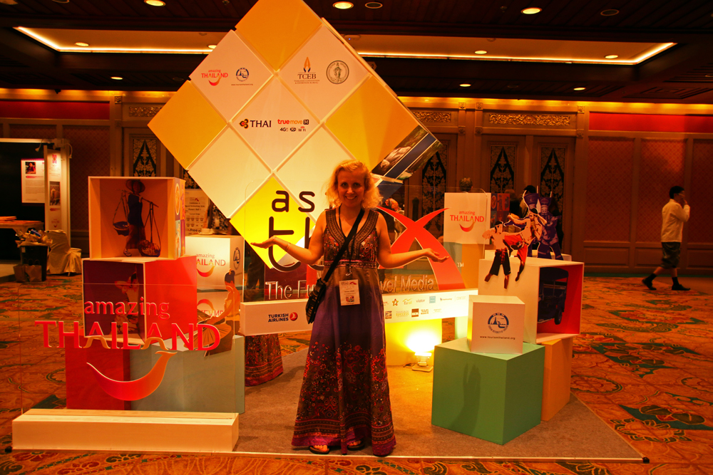 Myself at TBEX Asia in Bangkok (photo taken by Alice Nettleingham of Teacaketravels)