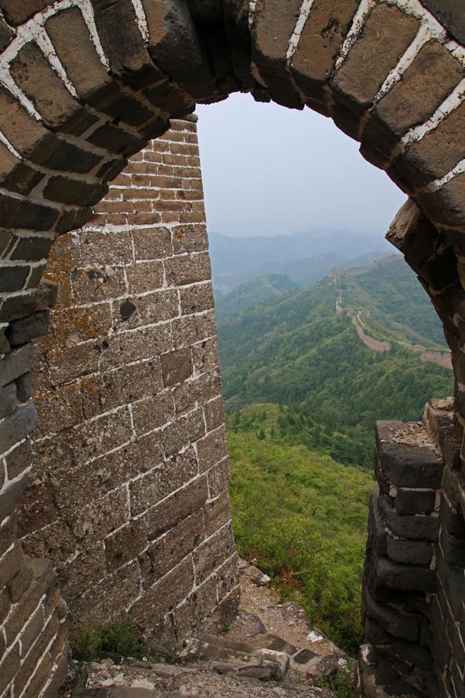 Fensterbogen Chinesische Mauer Gubeikou Miyun Hebei Peking China Asien