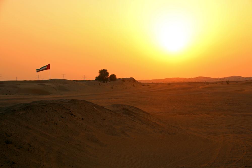 Eine Wüstensafari in Schardscha - Sonnenuntergang über der Wüste