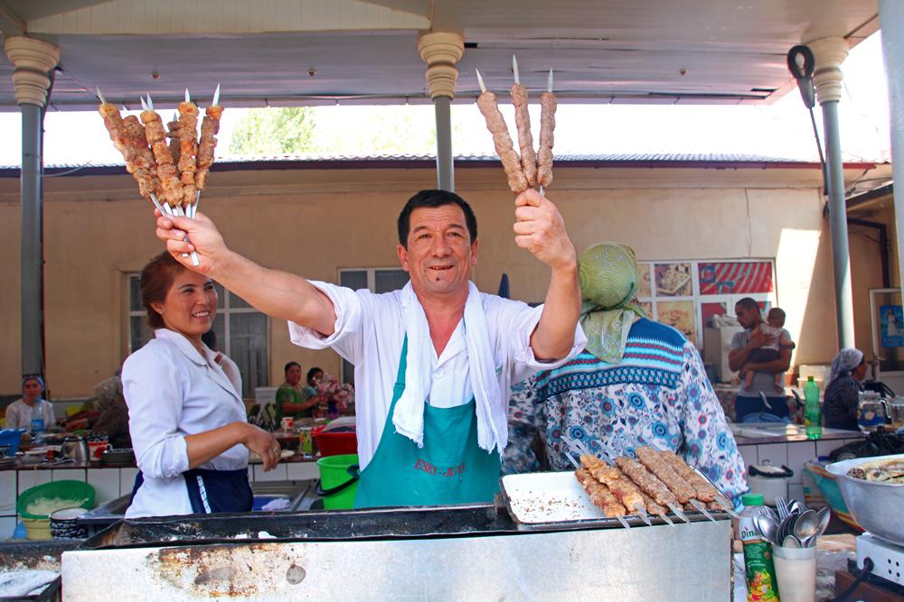 Höhepunkte von Taschkent Schaschlikverkäufer Chorsu Basar