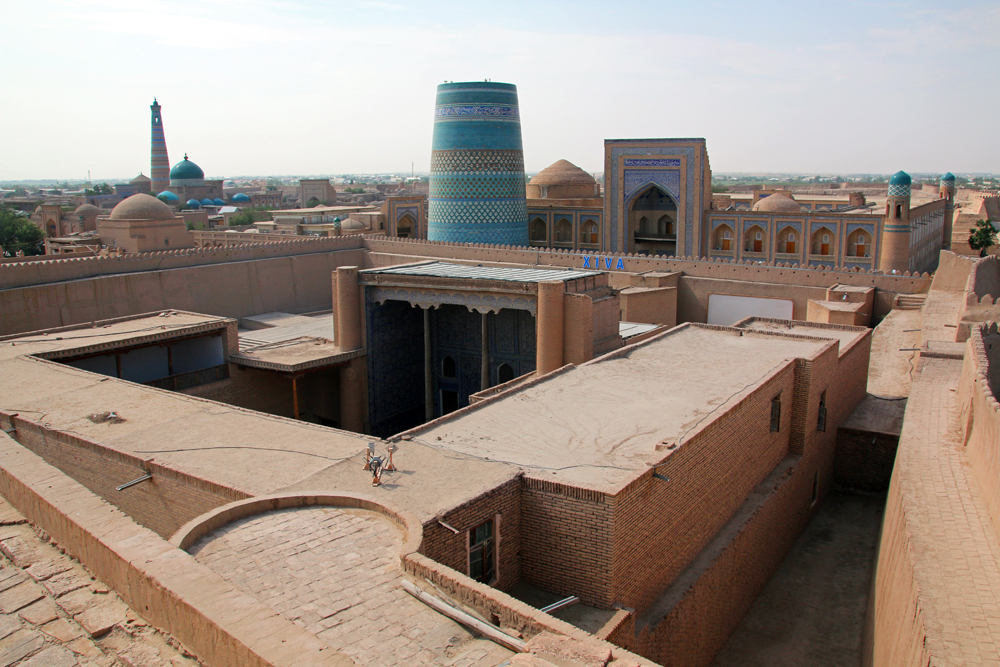 Travel blogger review 2016 - View over Itchan Kala from the ancient city wall in Khiva, Uzbekistan