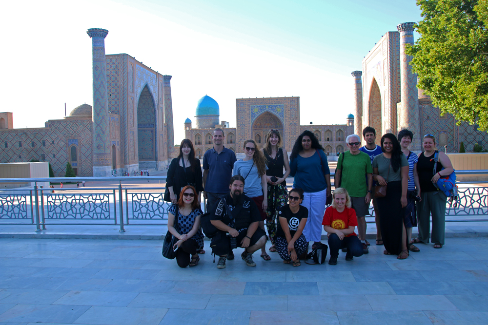 The Jewels of Samarkand - Our group in front of the Registan