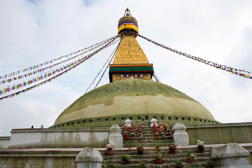 Travel bloggers tips for Bhutan - Bodnath Stupa in Kathmandu in August 2010