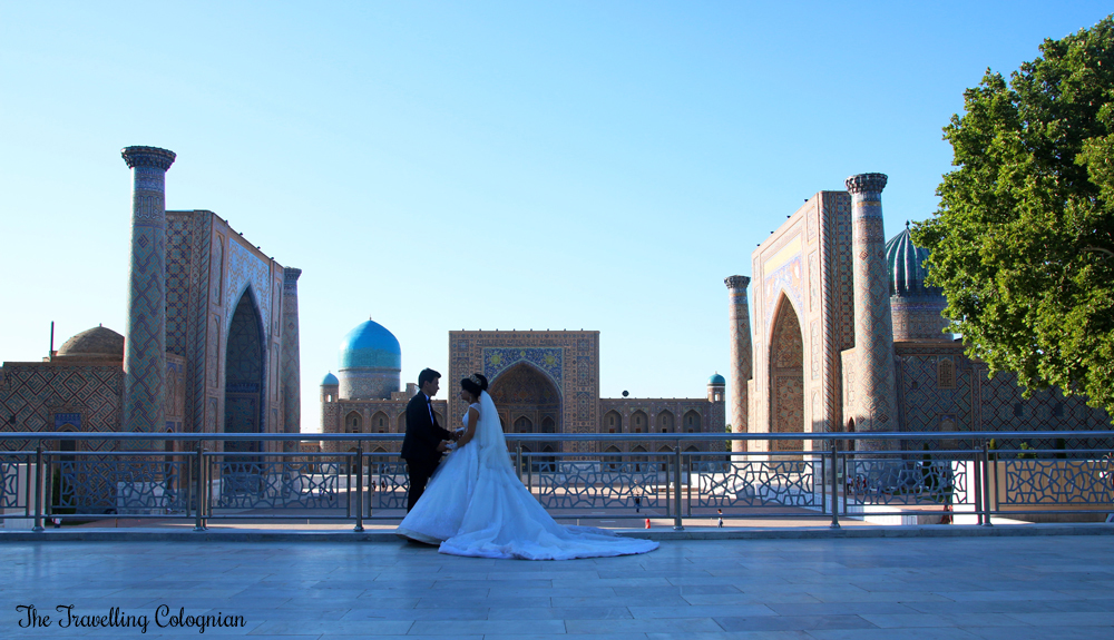 The Jewels of Samarkand - wedding couple at the Registan