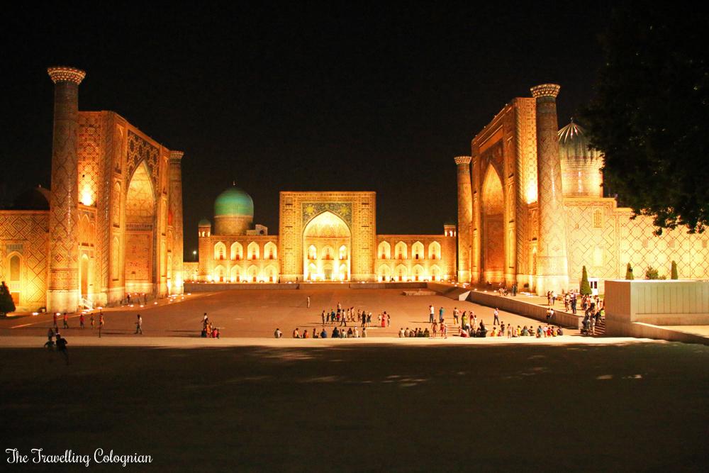 The Jewels of Samarkand - the illuminated Registan at night