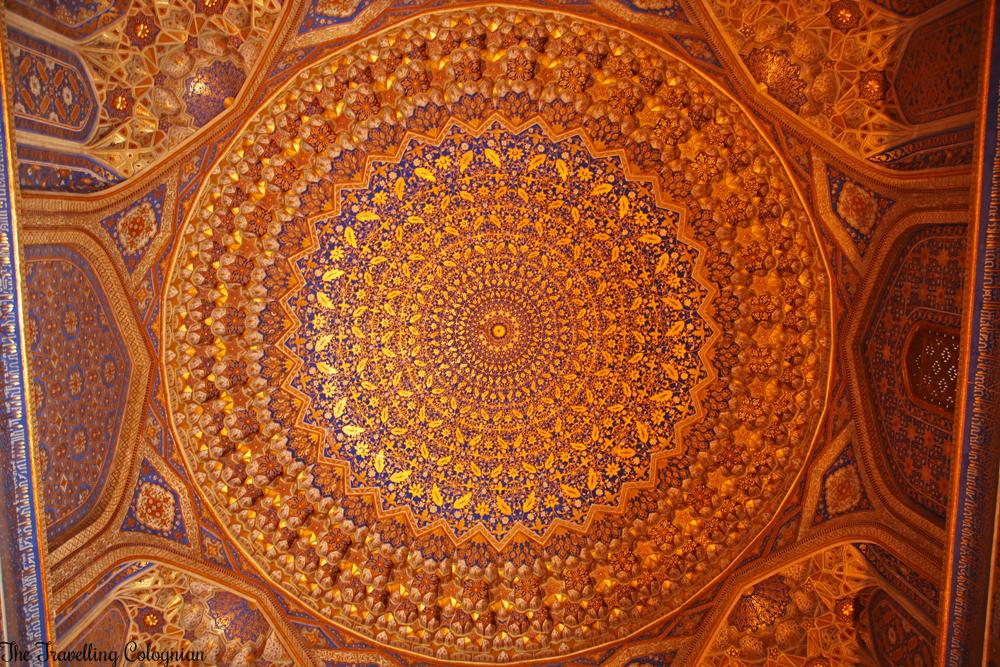 The Jewels of Samarkand - the Registan - Tilla Kori Medressa - Ceiling of the Friday Mosque