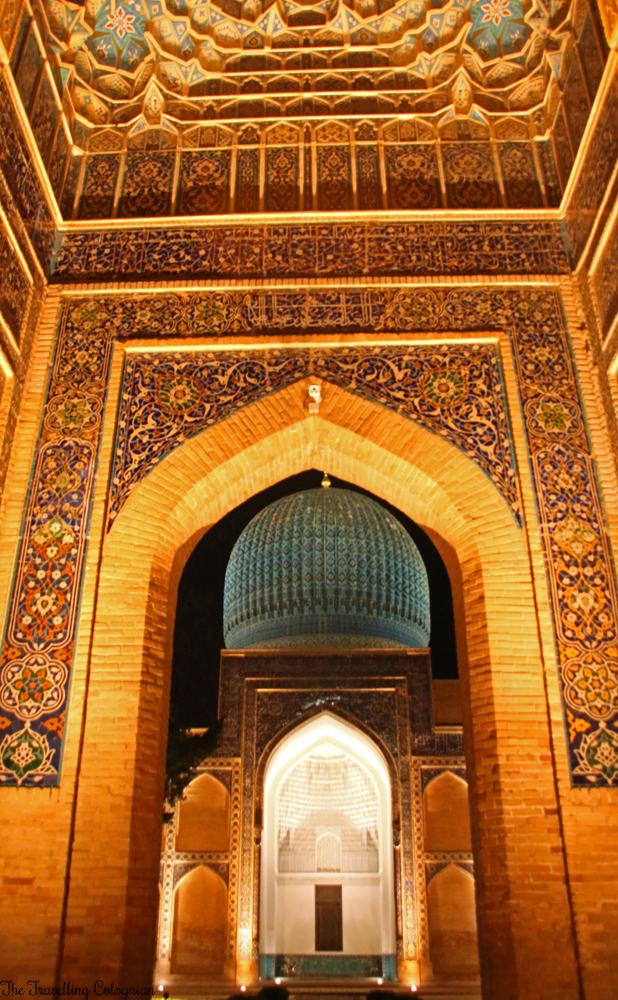 The Jewels of Samarkand - the illuminated entrance portal of the Gur-E-Amir Mausoleum