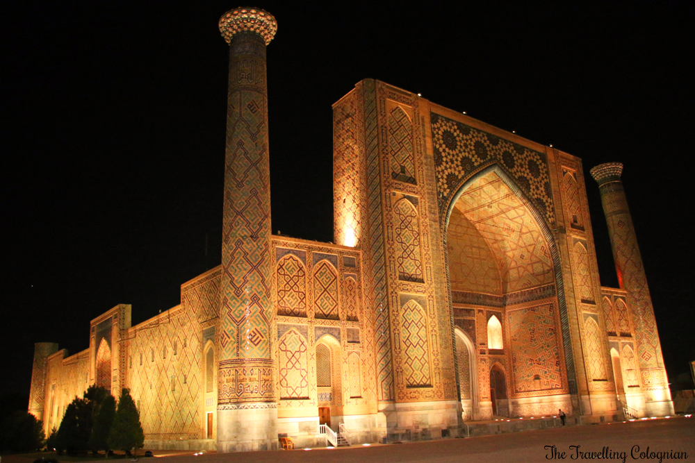 The Jewels of Samarkand - the Registan at night - the Ulugbek Medressa