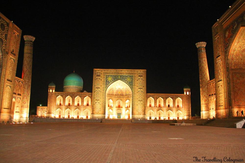 The Jewels of Samarkand - the Tilla-Kori Medressa at night