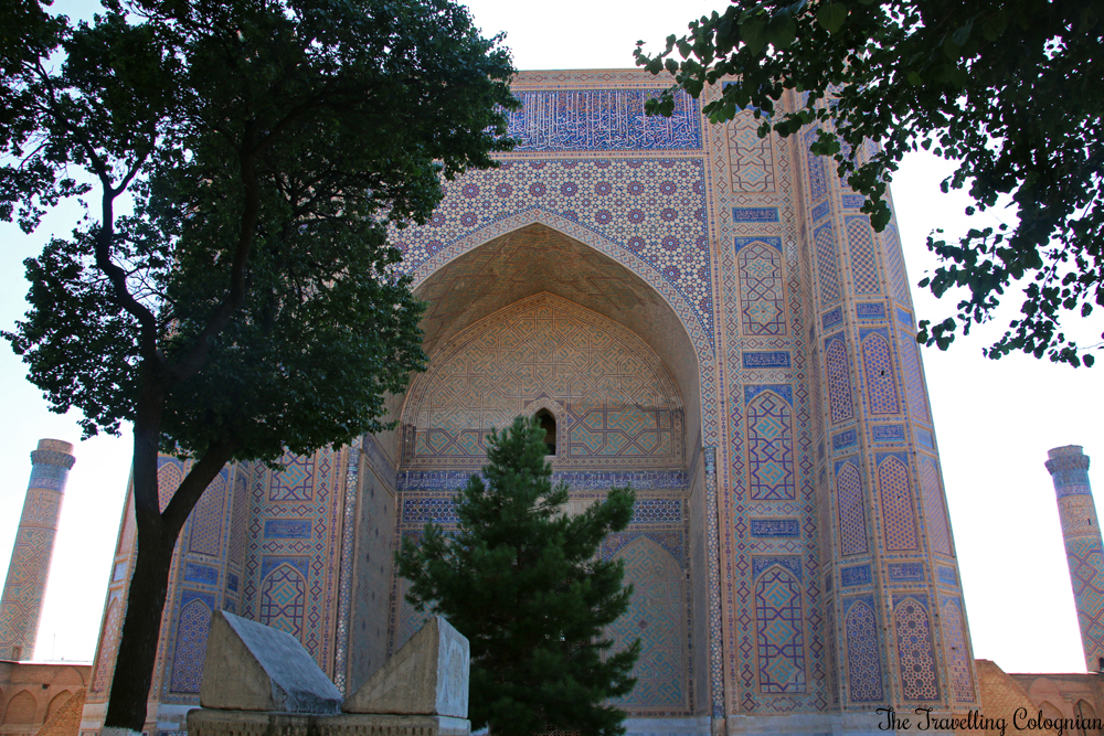 The Jewels of Samarkand - Bibi Khanym Mosque - Entrance portal seen from the courtyard with the famous koran stand