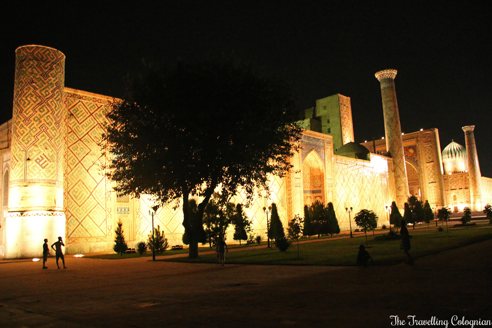 The Jewels of Samarkand - the Registan at night - the lateral facade of the Ulugbek Medressa
