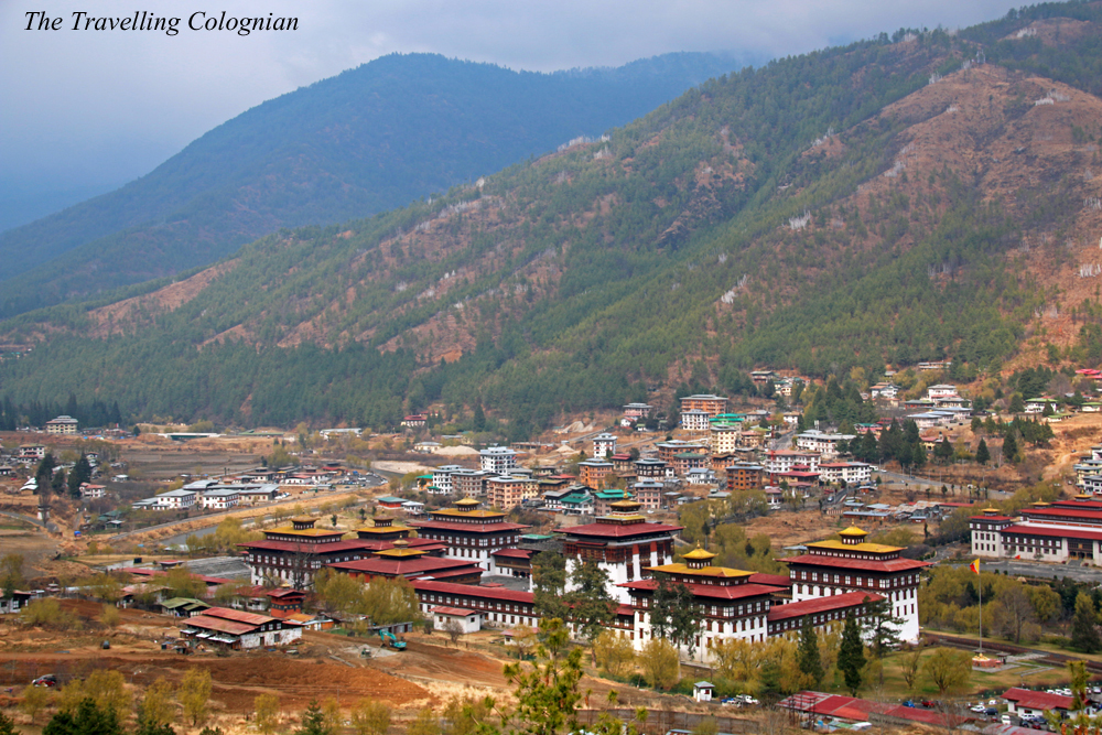 Travel blogger review 2017 Thimphu Dzong from above Tashichho Dzong from above Thimphu Bhutan Himalayas South Asia ASIA