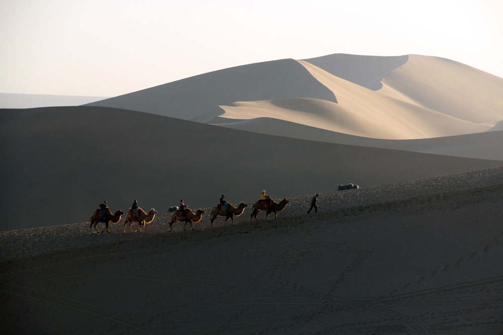 Mingsha Sandduenen Dunhuang Gansu China ASIEN