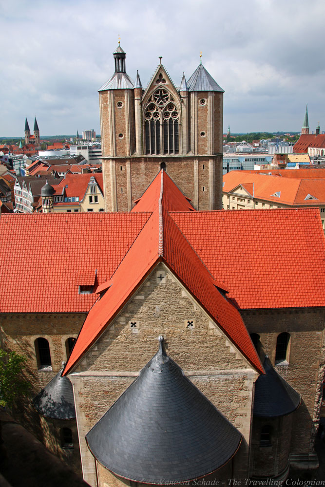 Brunswick Cathedral from above Town Hall Tower Brunswick Lower Saxony Germany EUROPE