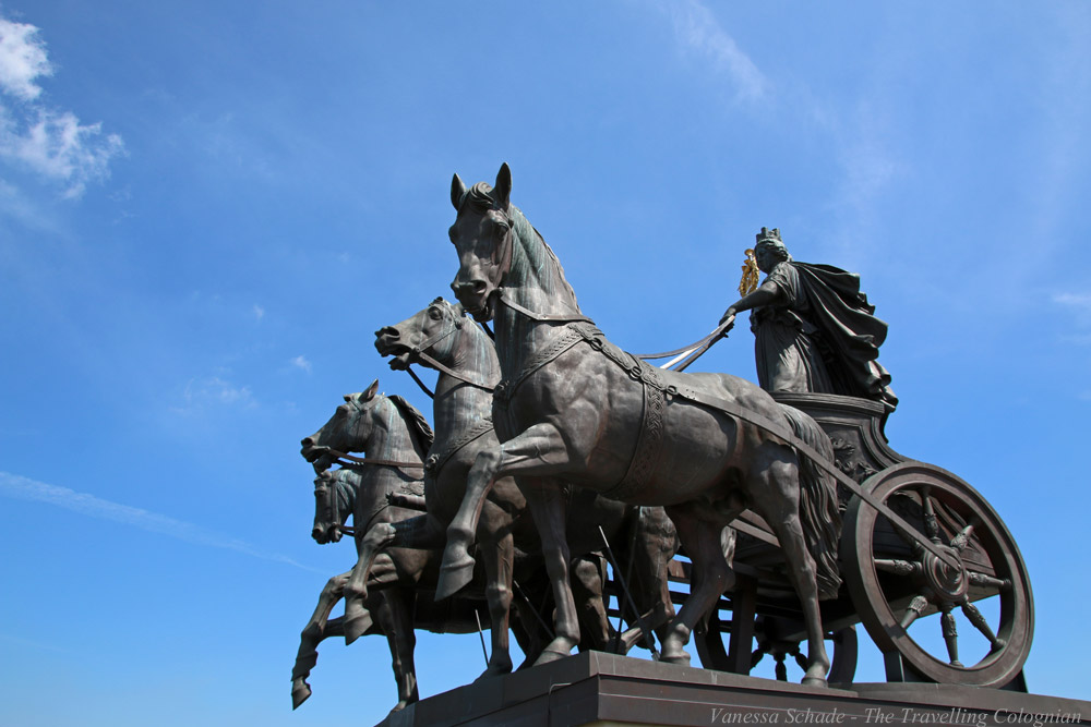 Brunswick Quadriga on the Brunswick Castle Brunswick Lower Saxony Germany EUROPE