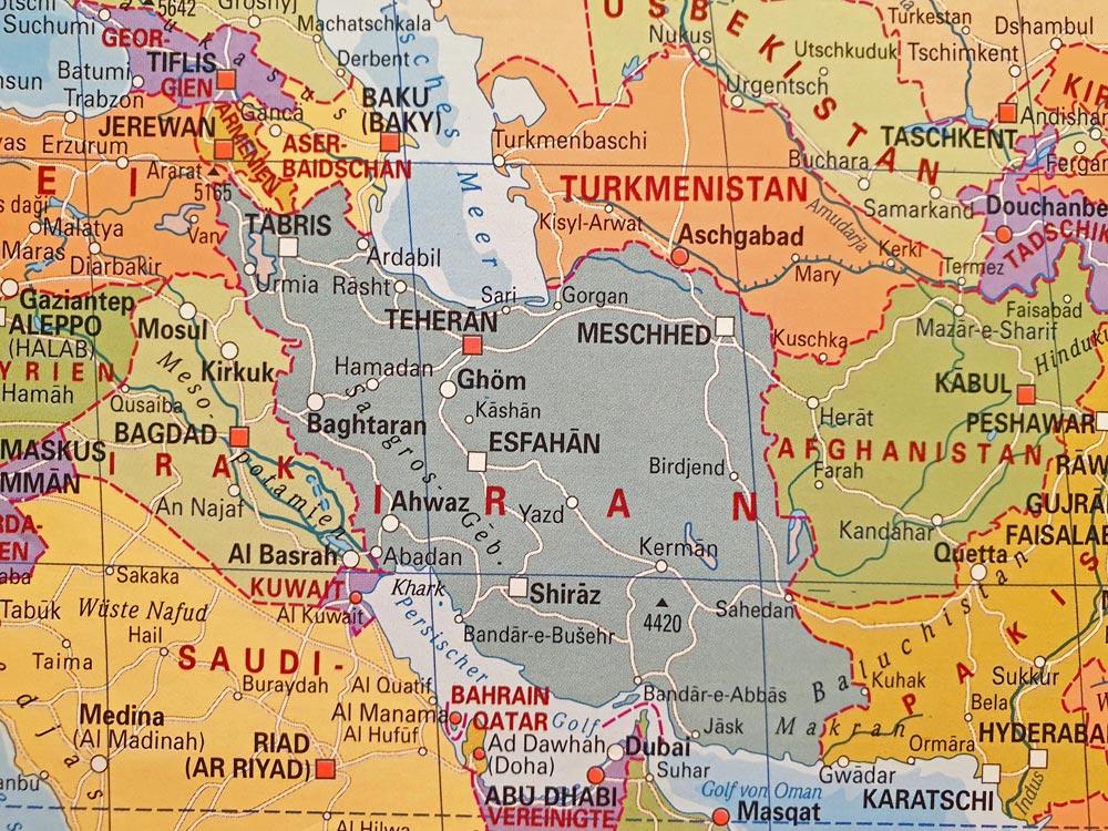 Iran-Karte Iran NAHER OSTEN PERSISCHER GOLF